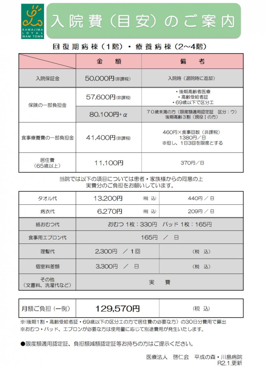 川島病院料金表
